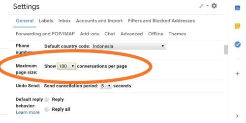 gmail maximum page size