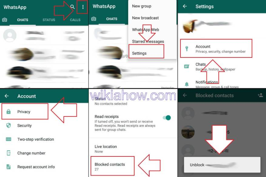 How to unblock a number on Android in WHATSAPP