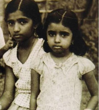 Usha Mangeshkar during childhood with her eldest sister Lata Mangeshkar