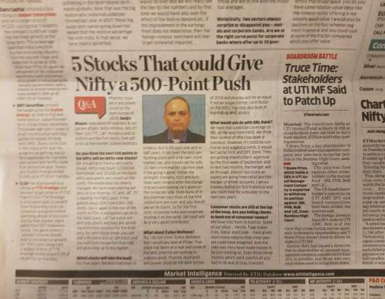 Sanjiv Bhasin's article in a business newspaper