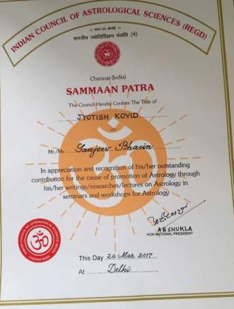 Sanjiv Bhasin's degree of Jyotish Kovid