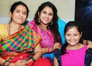 Geetha Bharathi Bhat with her mother and sister