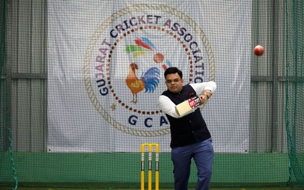Jay Shah hitting a ball in the nets of GCA Indoor Academy in Ahmedabad