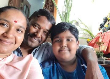 Nirmala Channapa with her husband and son