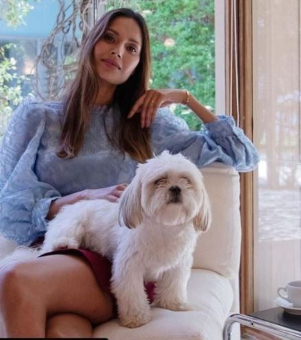 Ujjwala Raut with her pet dog