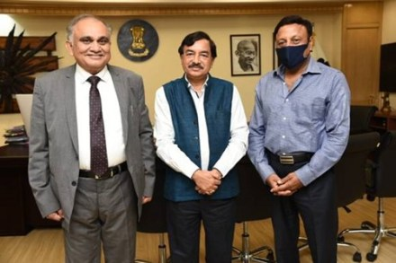Anup Chandra Pandey with Sushil Chandra (middle) and Rajiv Kumar (right)