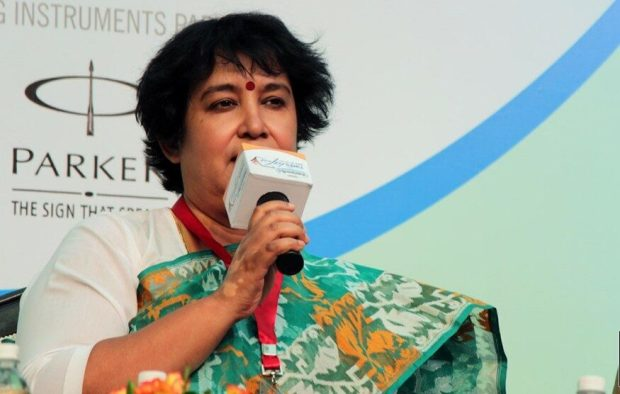 Taslima while speaking to the news reporters in 2015