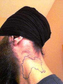 Humble the Poet's tattoo of Punjab's map