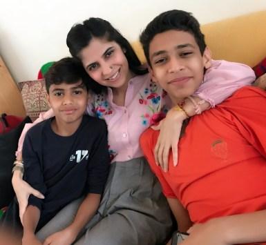 Shwetambari Soni with her sons