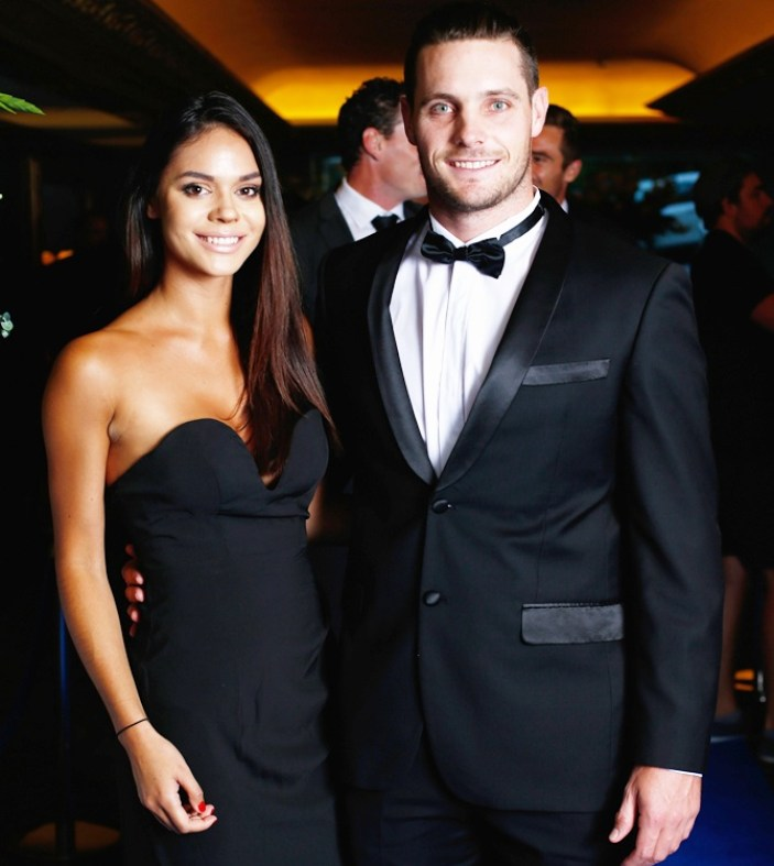 Mitchell McClenaghan with his girlfriend Renee Brown