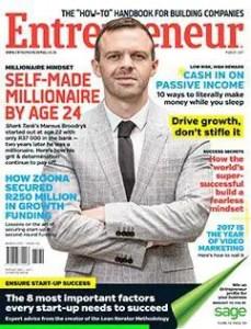 An Image of Marnus Broodryk in the Entrepreneur magazine