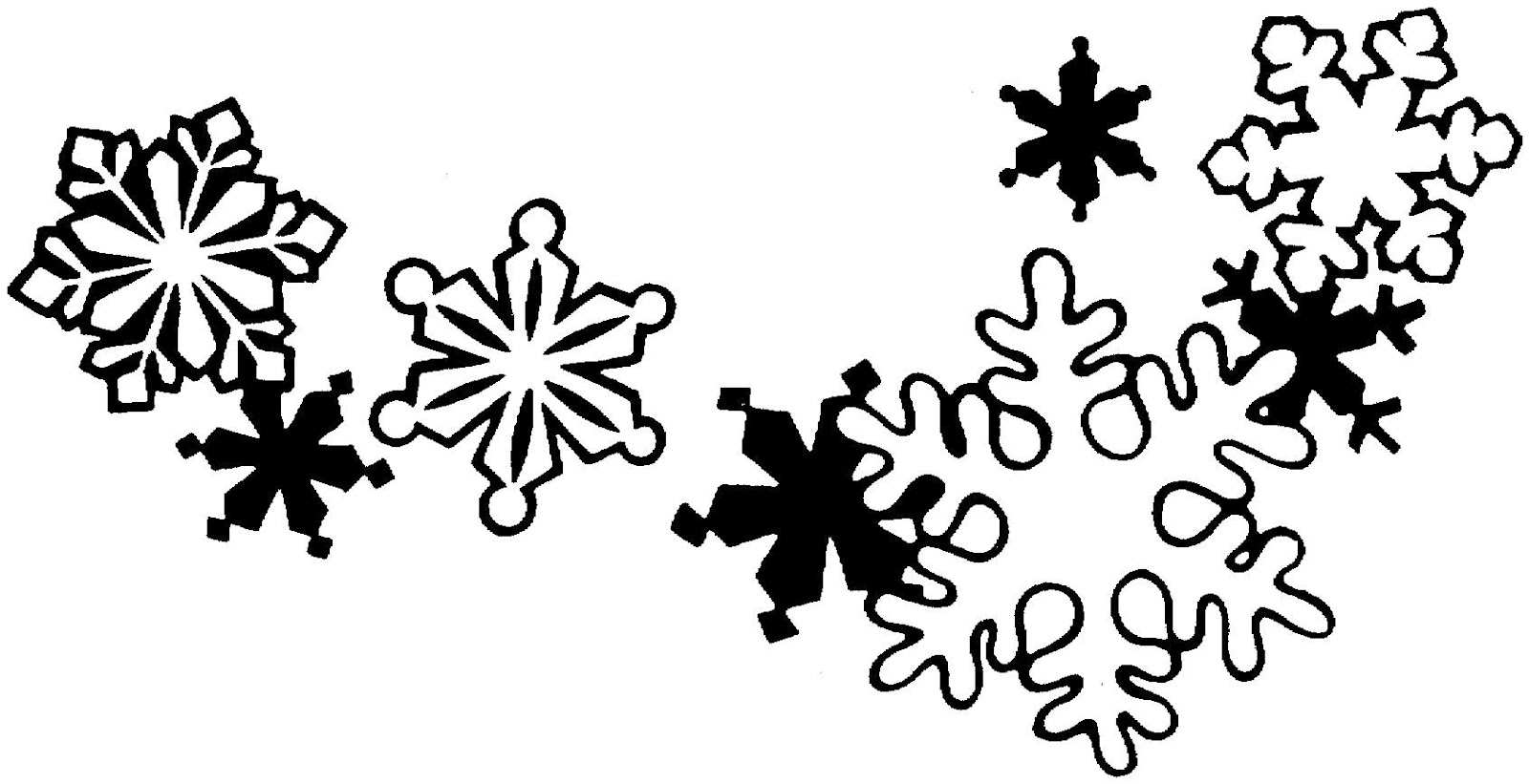 Snowman Black And White Snowflake Clipart Black And White