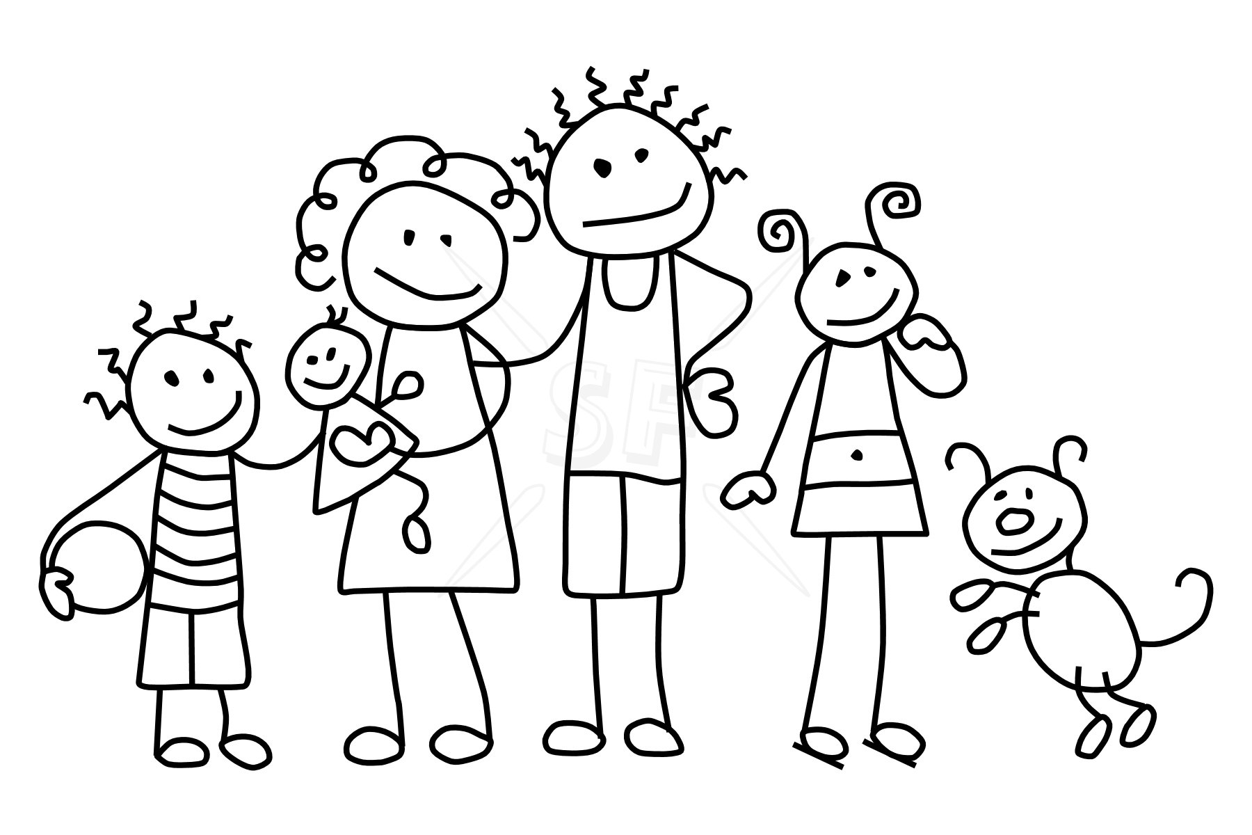 Family Black And White Black And White Clipart Family