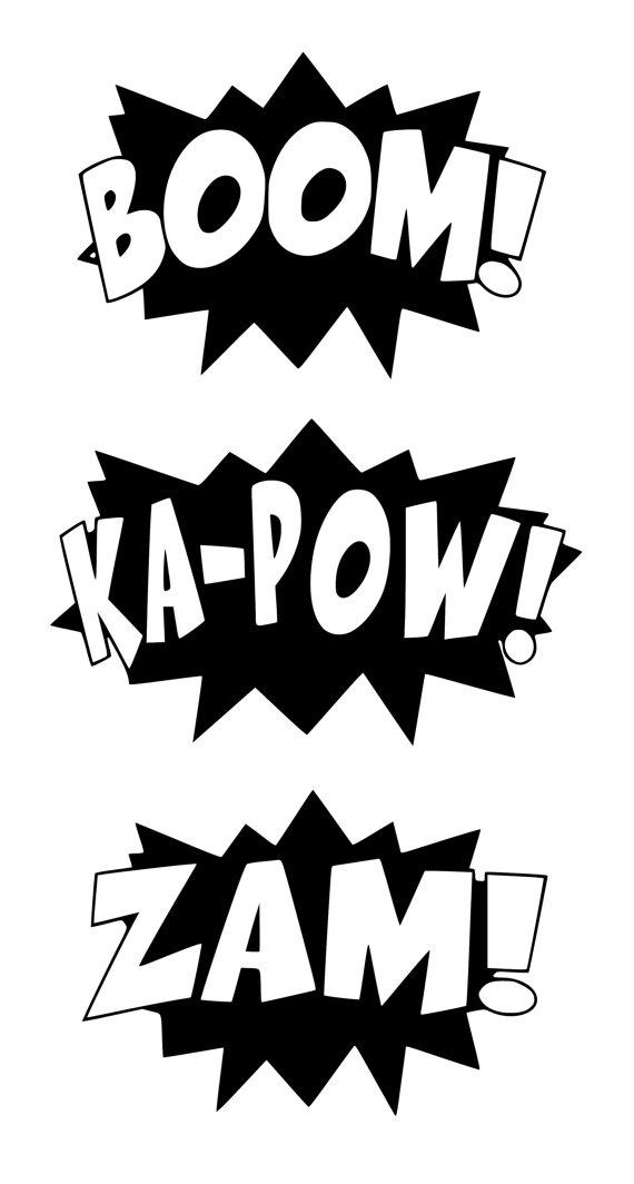 Superhero Words Pow Bam