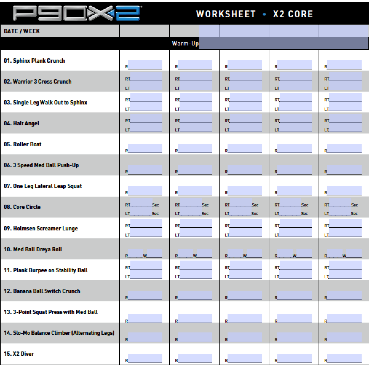 Download P90x Schedule