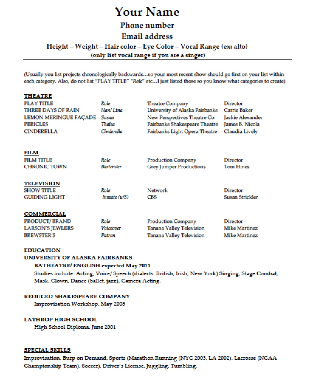 Download Acting Resume Template