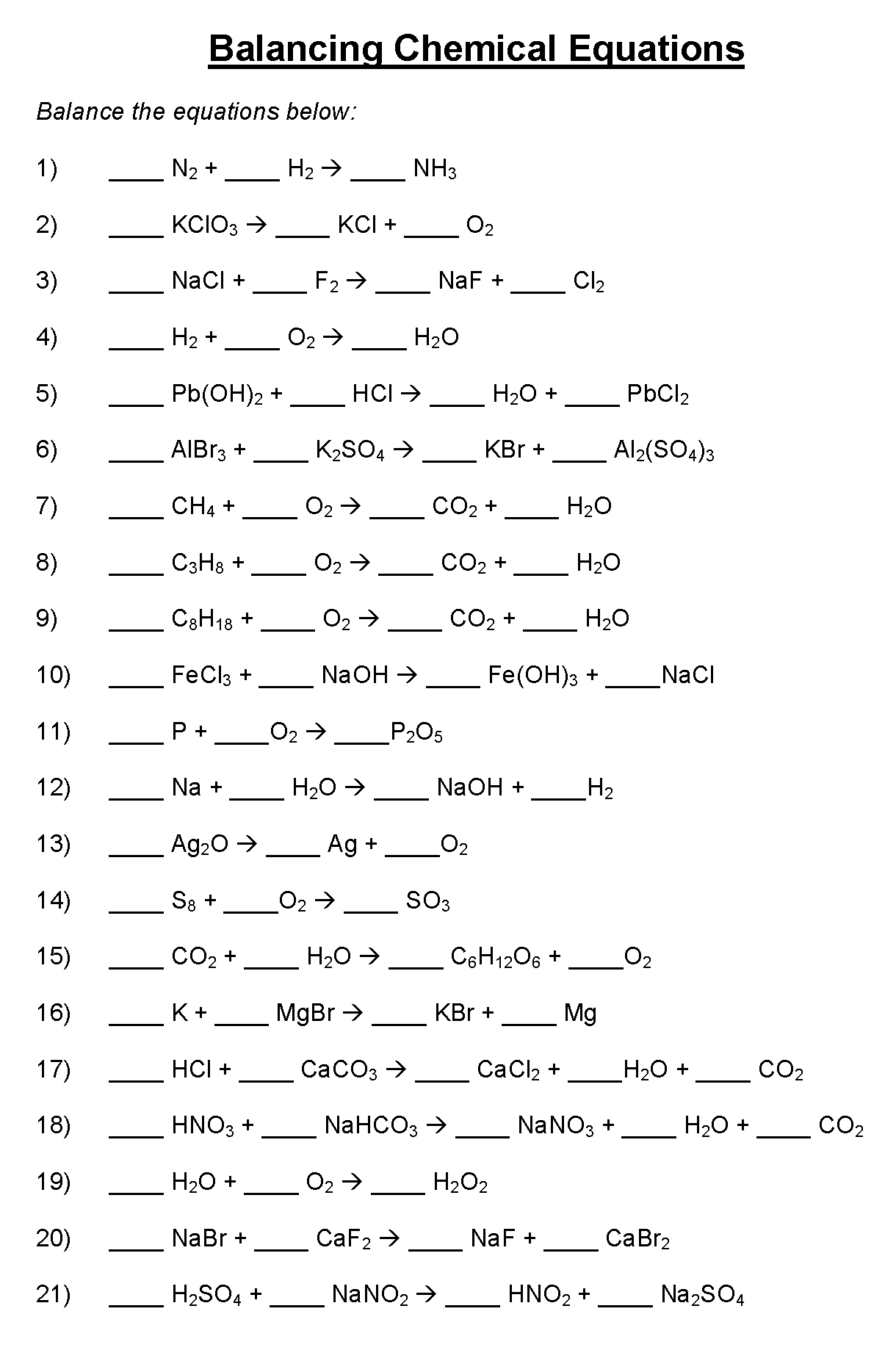 Understanding Chemical Equations Worksheet