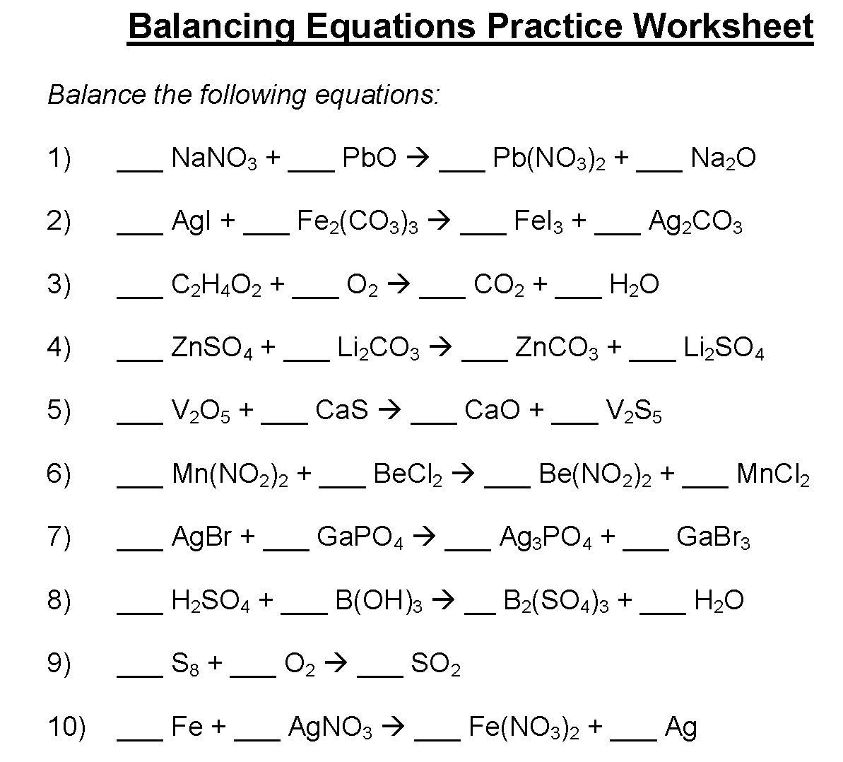 Balancing Equations Word Equations Worksheet