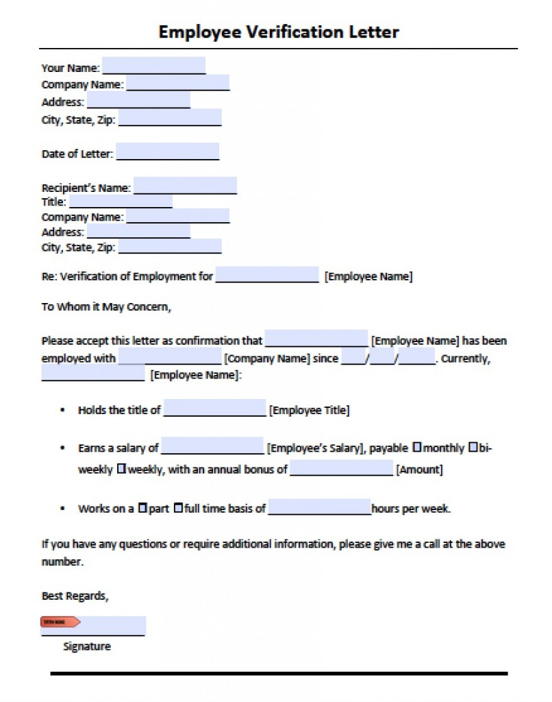 Free Employment Verification Form Template Sample Police