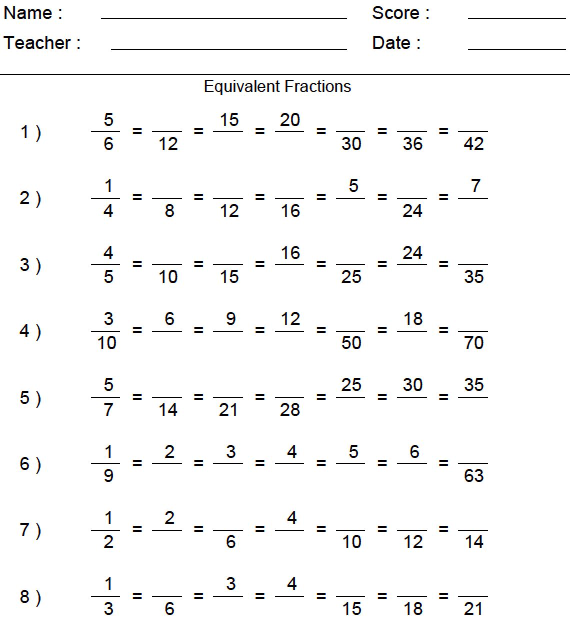 Best Fractions Worksheets Download Equivalent Fractions