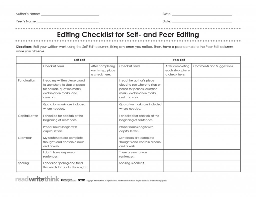 Download Peer Editing Checklist