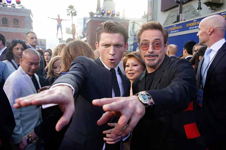 Tom Holland with Robert-Downey-Jr