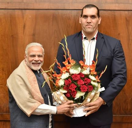 Narendra Modi with Khali