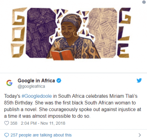 Miriam Tlali honoured by Google