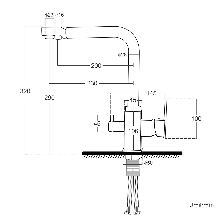 Juno Water Filter Chrome Tap 3 Way Kitchen Sink Faucet