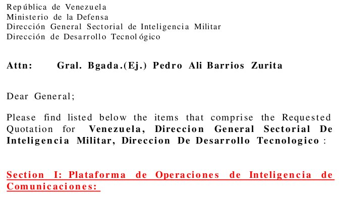 See Venezuela buying millions in spy equipment from US Phoenix Industries 2000 for the full document