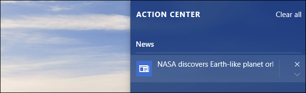 Configure Notification Center