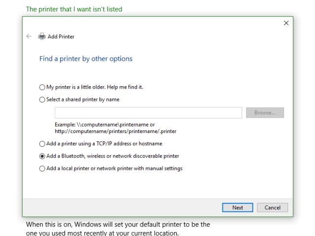 Change the default printer