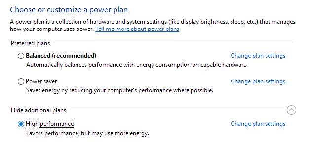 Use High Performance Power Plan