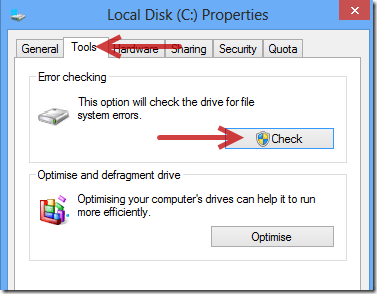 check harddrive for errors