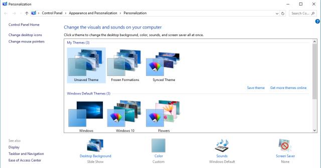Select Theme in Windows10