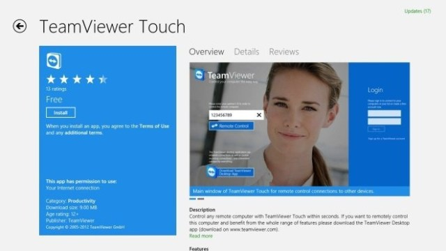 Windows-Store-App Teamviewer Touch