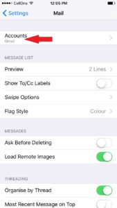 iPhone Gmail settings