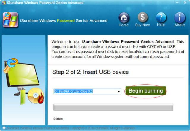 Select Begin burning for Windows Vista password reset without disk