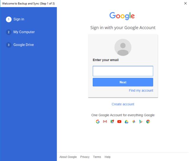 Google Drive via Backup and Sync