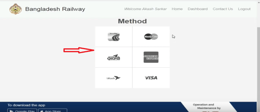 payments method of train ticket