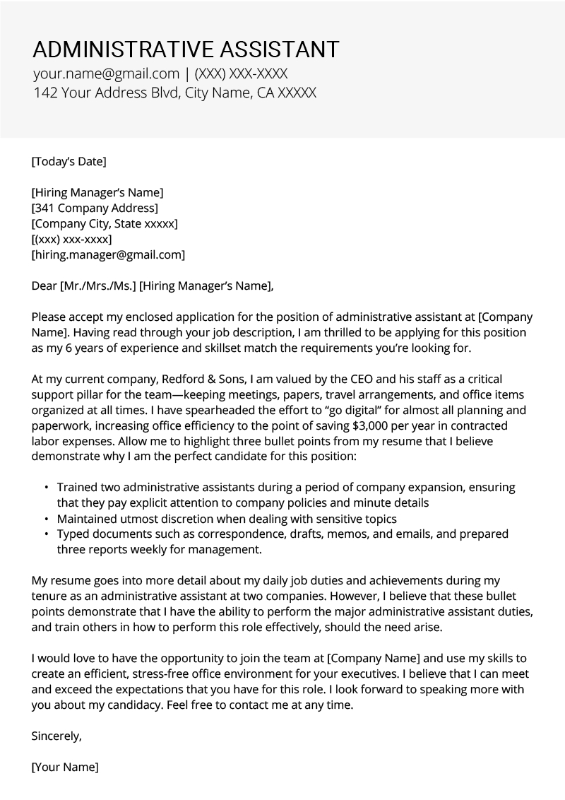 Administrative Assistant Cover Letters Administrative Assistant Cover Letter Example Tips Resume Genius