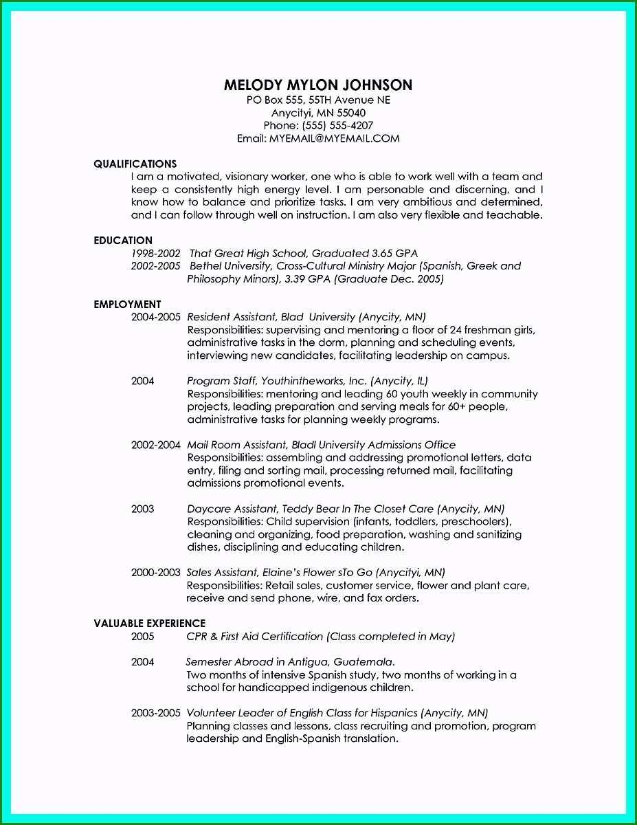 Basic Resume Template Basic Resume Template For High School Graduate Specialized Cool