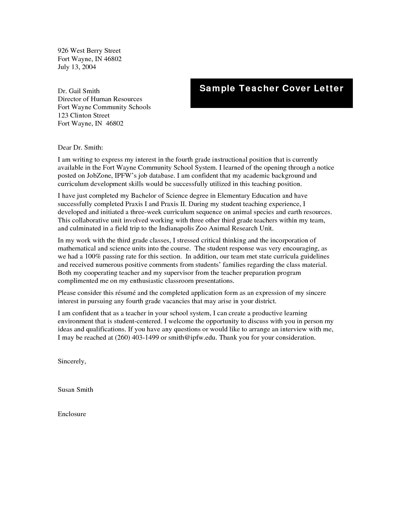 Rules in Writing Cover Letter Example Teacher - wikiresume.com