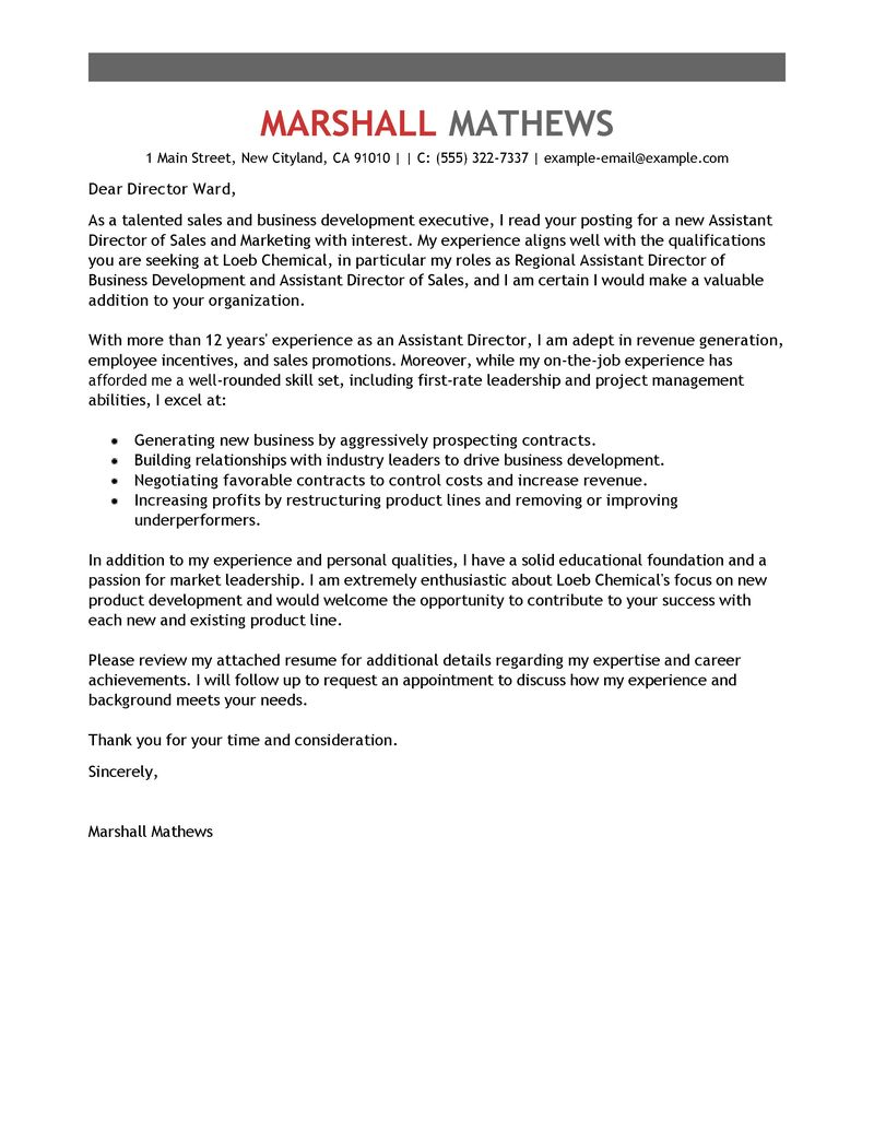 Cover Letter Examples Templates Classistant Director Management cover letter examples templates|wikiresume.com