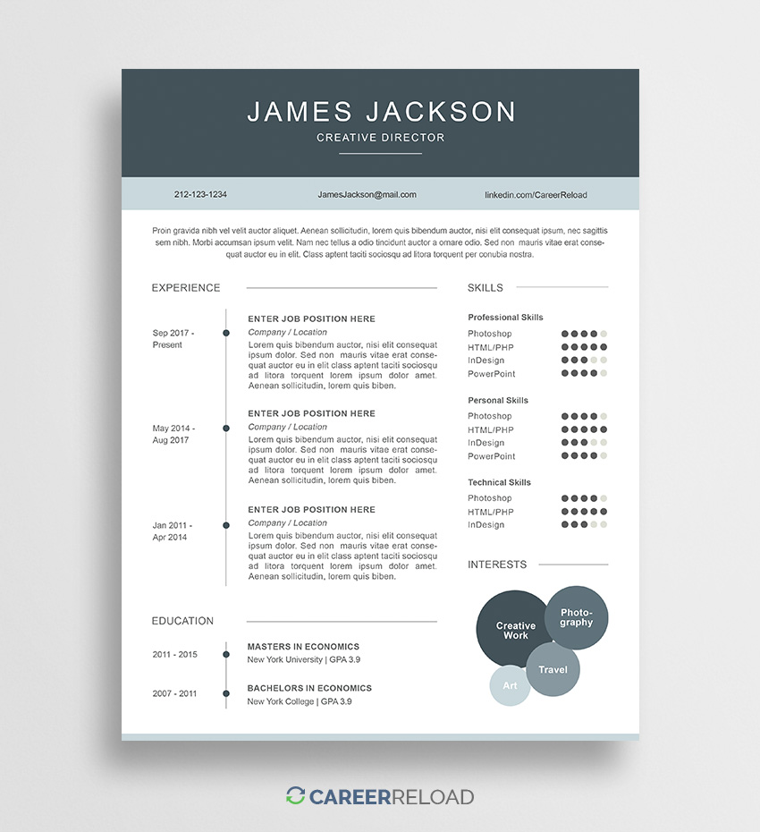 Creative Resume Template Free Resume Template James 01 2 creative resume template free|wikiresume.com