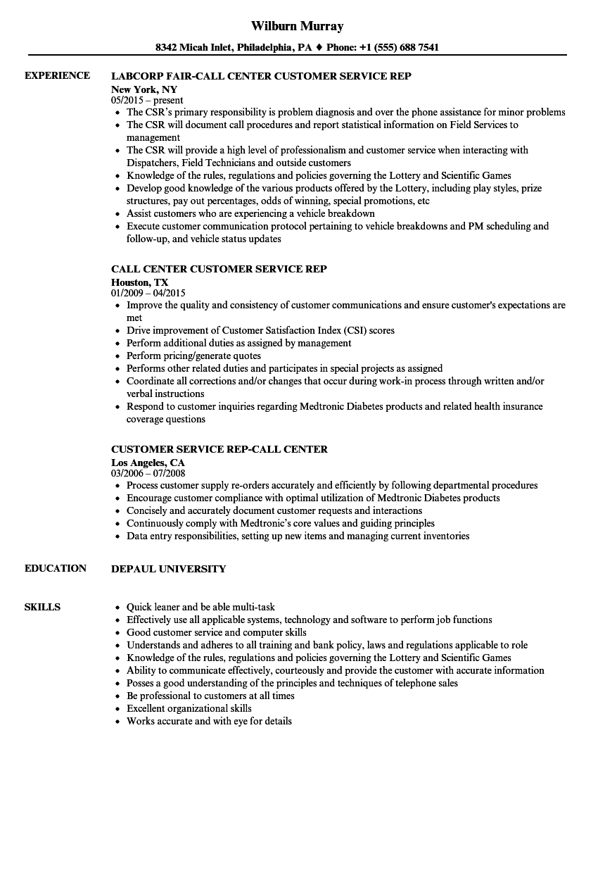 Customer Service Resume Examples Resume Examples For Customer Service Call Center Cablo