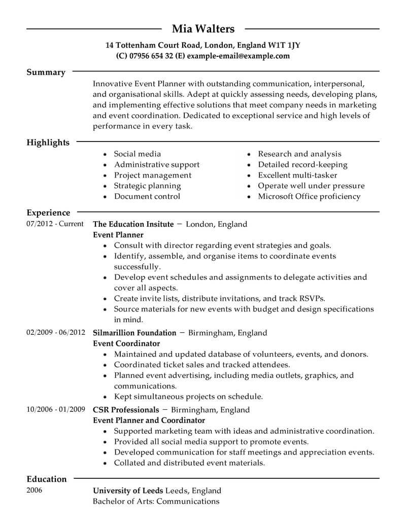 Event Planner Resume Event Planner Marketing Modern 2 event planner resume|wikiresume.com