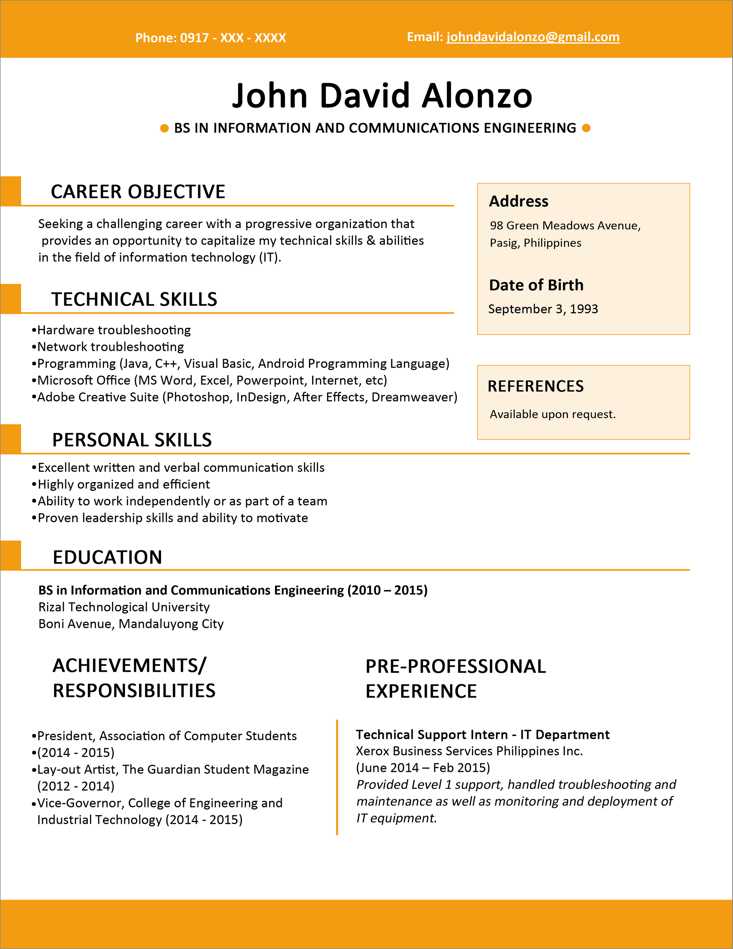 Example Of Resume Sample Resume Format For Fresh Graduates One Page Format