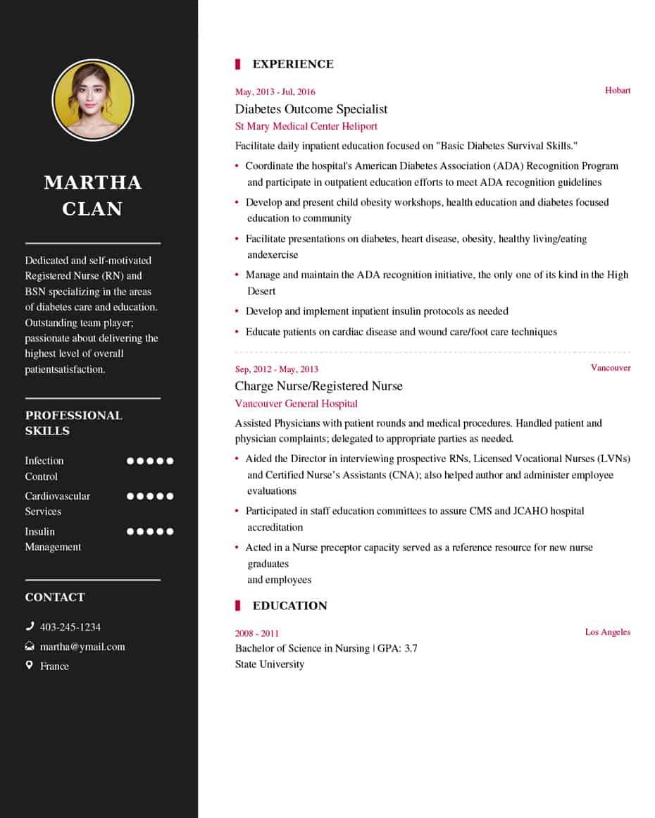 Free Resume Template Nurse Resume Sample Example free resume template|wikiresume.com