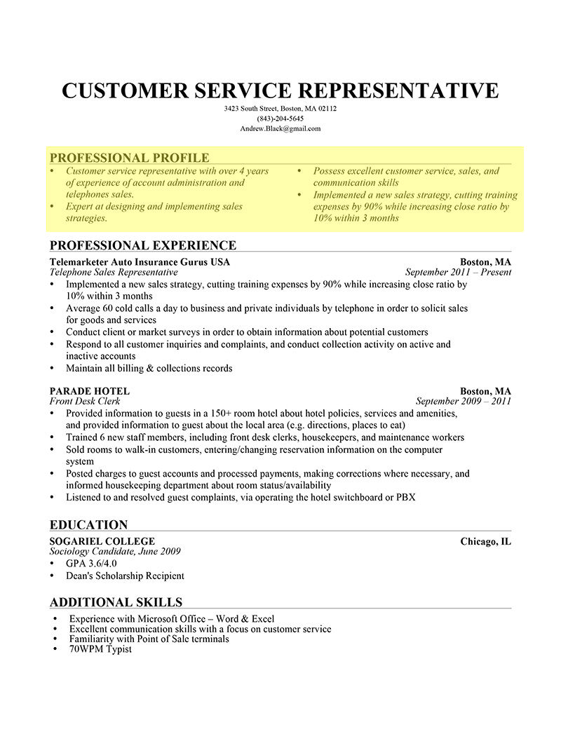 How To Type A Resume Professional Profile Bullet Form1 how to type a resume|wikiresume.com